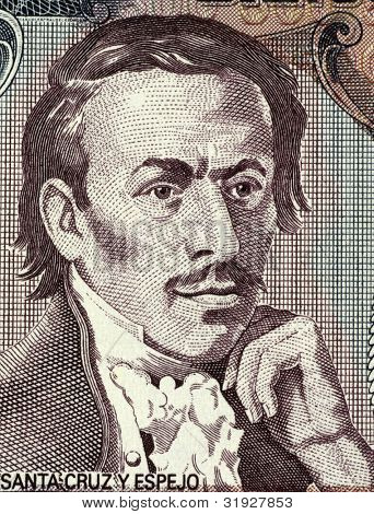 ECUADOR - CIRCA 1988: Eugenio Espejo (1747-1795) on 500 Sucres 1988 Banknote from Ecuador. Medical pioneer, writer and lawyer of mestizo origin in colonial Ecuador.
