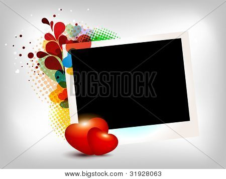 Picture, photo frame or card with two sparkling hearts and place for photograph. EPS10 Vector illustration.
