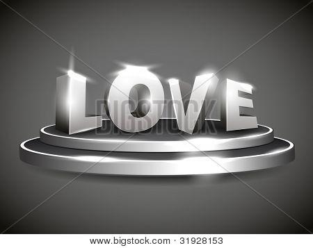 texto de amor 3D en soporte brillante o etapa con efecto brillante, aislado sobre fondo gris. EPS 10 Vec