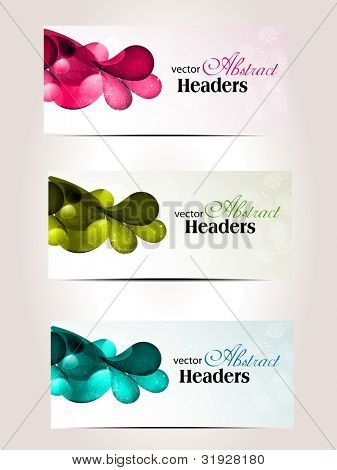 Set of headers or website banner with abstract floral design work on light color background . EPS 10