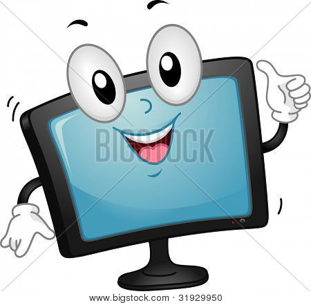 Mascot Illustration of a Computer Monitor Giving a Thumbs Up