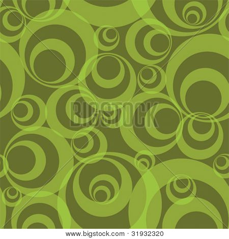 Abstract green circles - funky seamless vector background