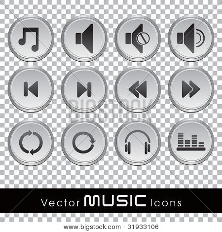 Set of glossy music web icons in black and white color on transparent background. EPS 10. Vector illustration.