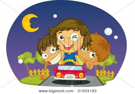 kids driving at night in car