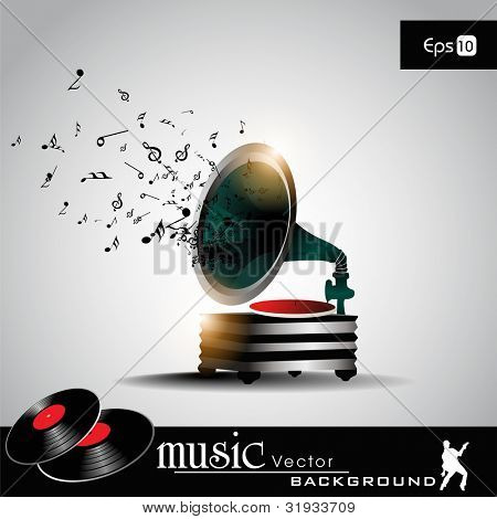 Retro music system (gramophone) with musical notes. EPS 10. Vector illustration.