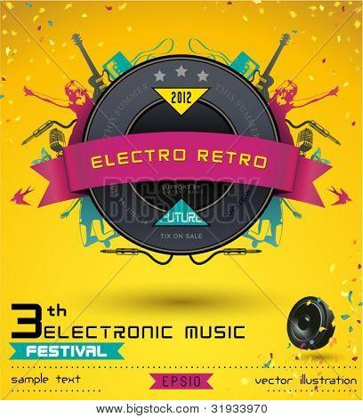 Music Concept, Retro Poster Template.