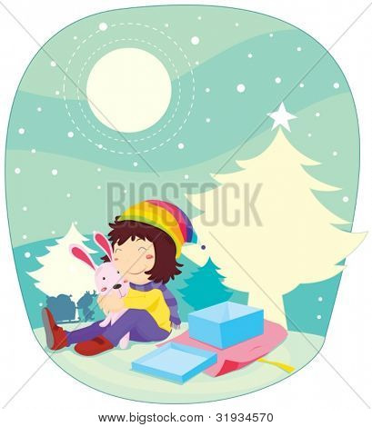 Illustration of girl at Chistmas time