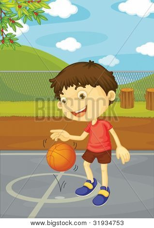 Illustration of boy playing basketball