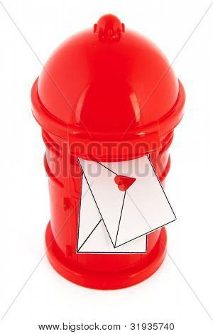 Love mail letters in red post box isolated over white background