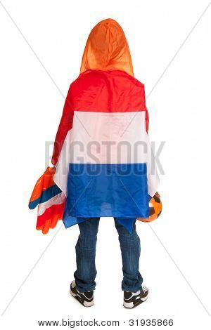 Dutch soccer supporter on his back dressed with flag