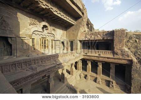 Ancient Buddhist Cave Temple At Ellora
