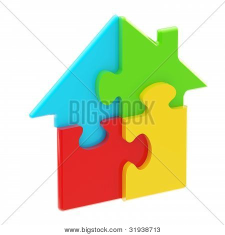 House icon made of puzzle pieces