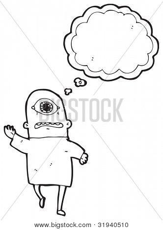 monstro de Ciclope dos desenhos animados com balão de pensamento