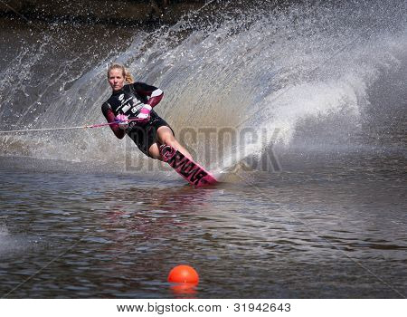 MELBOURNE, AUSTRALIA - MARCH 11: Whitney Mcclintock of Canada in the slalom event at the Moomba Masters on March 11, 2012 in Melbourne, Australia