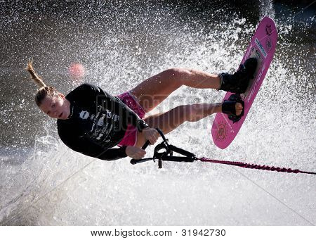 MELBOURNE, AUSTRALIA - MARCH 11: Whitney Mcclintock of Canada in the trick event at the Moomba Masters on March 11, 2012 in Melbourne, Australia