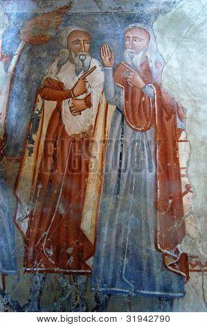 Ancient fresco, murals in Ghelinta, Romania