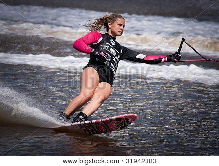 MELBOURNE, AUSTRALIA - MARCH 11:Michele Briant of Australia in the slalom  event at the Moomba Masters on March 11, 2012 in Melbourne, Australia