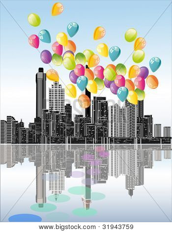 illustration with balloons above town