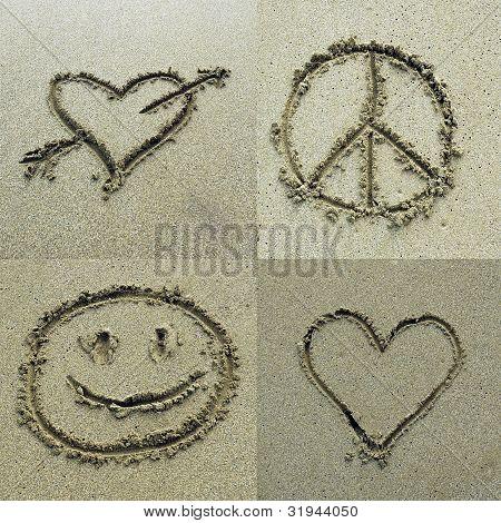 Different symbols drawn on sand