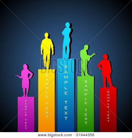 illustration of people standing on growing bar graph