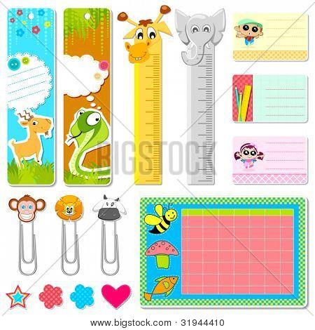 Ilustración de conjunto de papelería de la escuela en tema animal