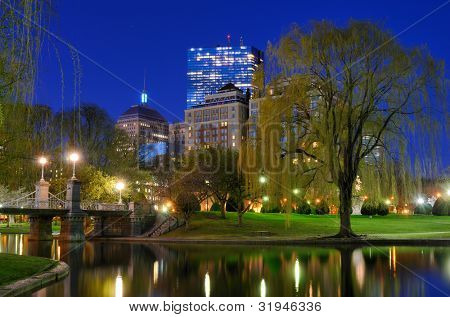 Lagoon Bridge and skyline of Boston, Massachusetts from the Boston Public Gardens.