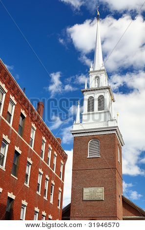 Old North Church in Boston, Massachusetts. The church is famed for Paul Revere's midnight ride of April 18, 1775.