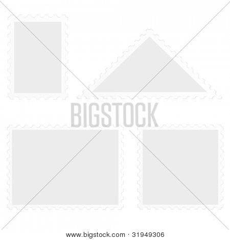illustration of a set of blank stamps, isolated on white