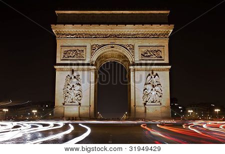 Illuminated Arc De Triomphe At Night