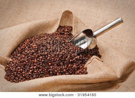 coffee beans in jute sack