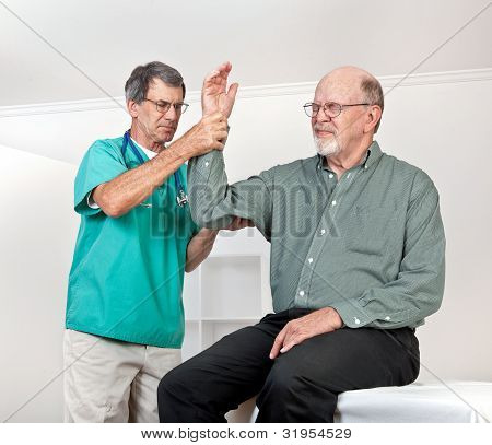 Doctor Examines Patient's Painful Arm