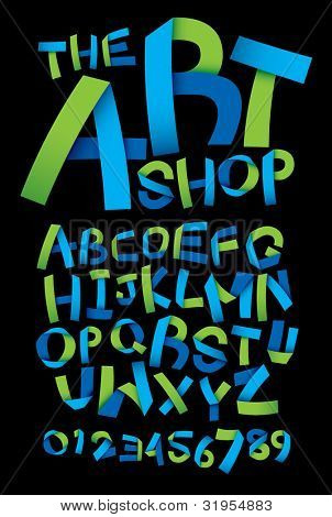 vector of paper crafting alphabets