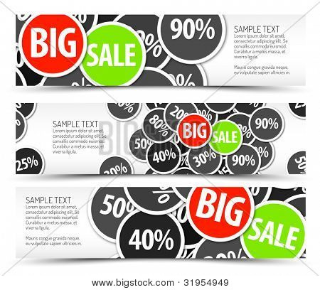 Set of vector big sale horizontal banners - with place for your text