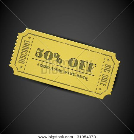 Old Yellow Vector vintage paper sale coupon with code on dark background