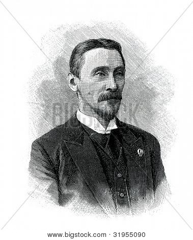 V.I.  Zhukovsky - Russian lawyerr. Engraving by  Helmitsky. Published in magazine