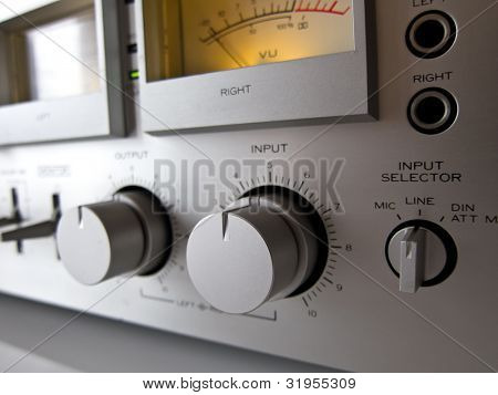 Analog Signal VU Meter and input level control closeup