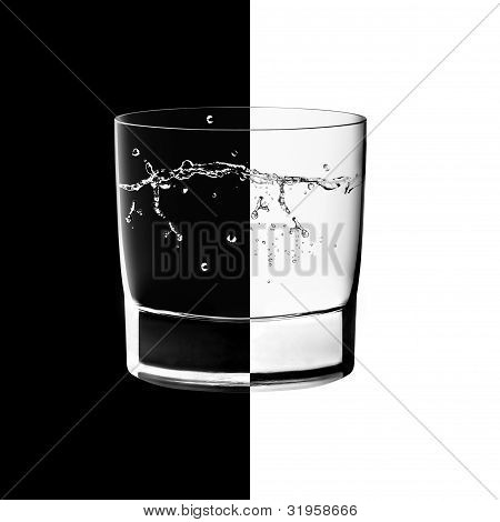 Glasses In Backlight On The Black And White