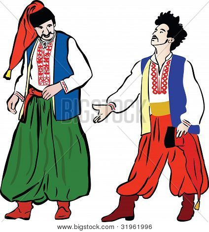 two Ukrainian men in their national costumes