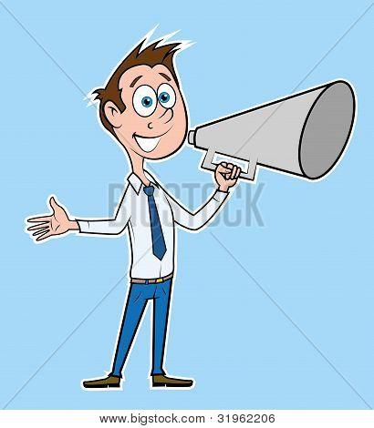 Businessman talk with megaphone.