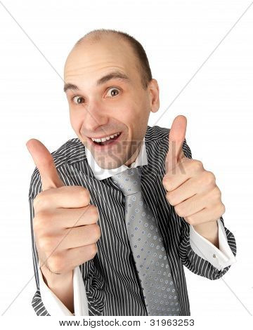 Happy Business Man Showing Thumbs Up