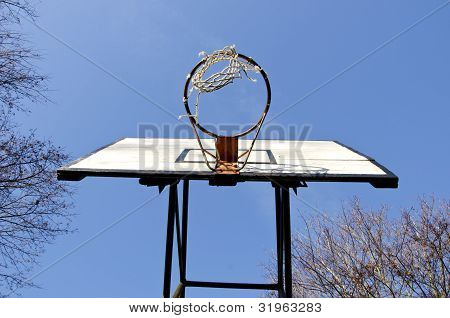 Basketball Board With Old Tattered Net On Hoop