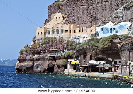 Port of Fira city at Santorini island