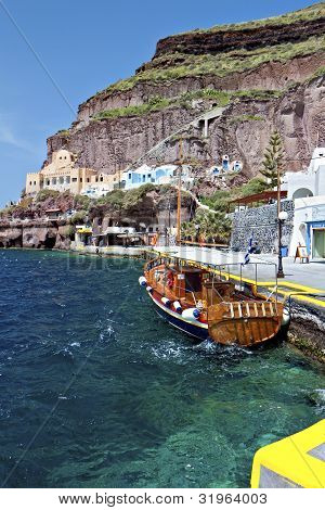 Old port of Fira city at Santorini island