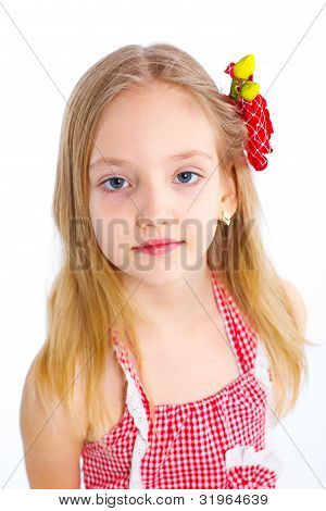 cute little girl in red clothes