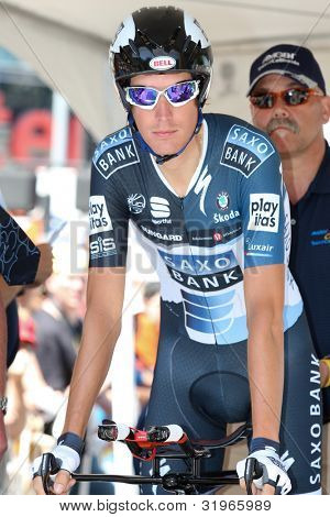 LOS ANGELES - MAY 22: Andy Schleck of team Saxo Bank during stage 7 of the Amgen Tour of California on May 22 2010 in Los Angeles.