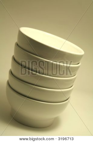 Stacked White Bowls