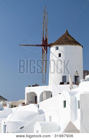 Windmill of Oia at Santorini island