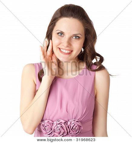 Embarrassed woman is smiling