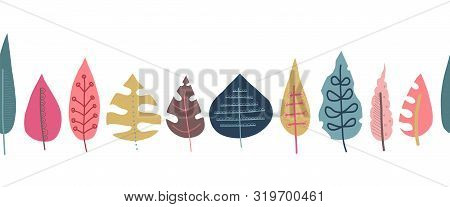 poster of Fall Leaves Seamless Repeating Vector Border. Scandinavian Style Autumn Doodle Pattern. Red Pink Gol