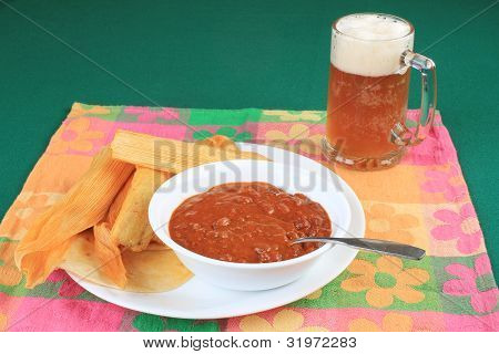 Chili And Beer With Tamales